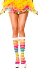 Sheer Knee Highs with Rainbow Stripes