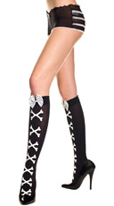 Crossbones Knee Highs with Polka Dot Bow