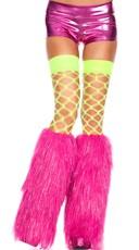 Neon Pink Furry Lurex Leg Warmers