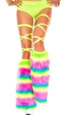 Rainbow Faux Fur Leg Warmer