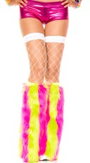 Vertical Stripe Faux Fur Leg Warmers