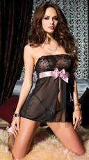 Strapless Mesh and Lace Babydoll