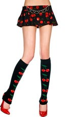 Footless Knee Highs with Cherry Print