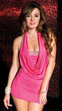 Hot Pink Cowl Neck Mini Dress