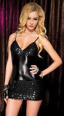 Metallic Black Sequin Dress