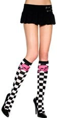 Checkered Knee Highs with Crossbone