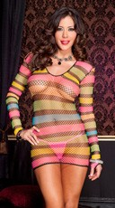 Long Sleeve Rainbow Net Mini Dress