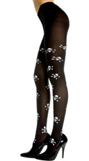 Opaque Tights with Crossbone Print