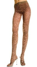 Opaque Leopard Print Pantyhose