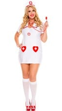 Plus Size White Hot Nurse