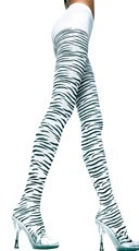 Opaque Pantyhose with Zebra Print