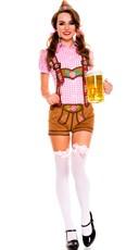 Pink Lederhosen Beer Babe Costume