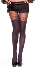 Lacy Faux Thigh High Pantyhose