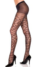 Sheer Pantyhose With Spider Web Print