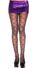 Sheer Bow Print Pantyhose