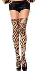 Nude and Black Diagonal Stripe Pantyhose