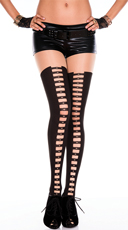 Black and Nude Ladder Print Pantyhose