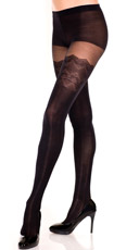 Spandex Pantyhose With Faux Lace Thigh Highs