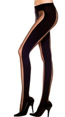 Sheer Pantyhose With Opaque Stripe