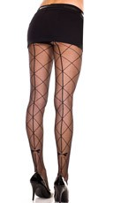 Sheer Pantyhose With Faux Large Diamond Net