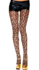 Sheer Pantyhose with Woven Leopard Print