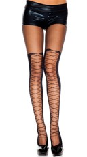 Sheer Pantyhose With Faux Lace Up
