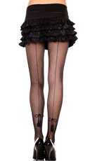 Seamed Tassel Bow Fishnet Pantyhose