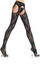 Plus Size Black Bow Lace Suspender Pantyhose