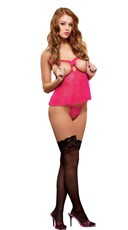 Sheer Cupless Babydoll with Crotchless G String