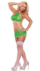 Neon Lace Bra and Skirt Set