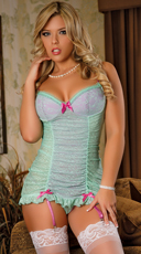 Aqua Chemise with G-String