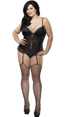 Plus Size Satin Corset Set