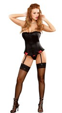 Plus Size Satin Corset and Micro Thong Set