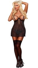 Plus Size Cupless Chemise and G-String