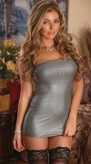 Plus Size Metallic Strapless Mini Dress Chemise Set