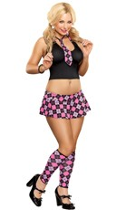 Pink Plaid School Girl Lingerie Costume