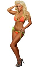 Neon Tri Top and Tie Side Thong