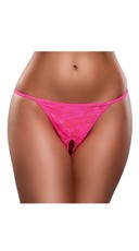 Plus Size Crotchless Lace G-String