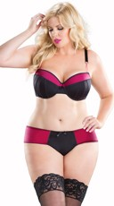 Plus Size Black and Hot Pink Bra