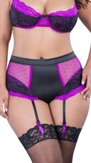 Orchid Plus Size High Waisted Dot Mesh and Lace Garter Panty