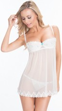White Lace Demi Cup Babydoll with G-String