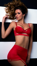 Red Bandage Style Bra and Garter Skirt
