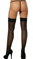 Opaque Black Back Seam Thigh Highs