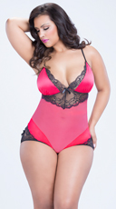 Plus Size Pink Mesh and Satin Teddy