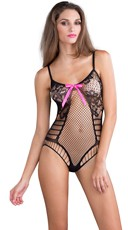 Lacy Fishnet Teddy with Pink Bow