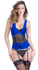 Blue and Black Lacy Bustier with Garters and Thong