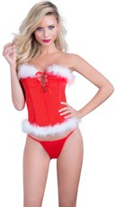 Maribou Trim Santa Bustier and G-String