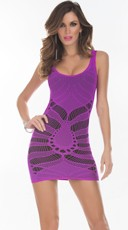 Purple Seamless Cut Out Tank Dress