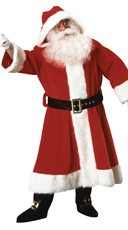 Plush Old Time Santa Suit with Hood