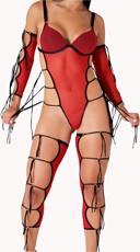 Red Mesh Dancewear Costume